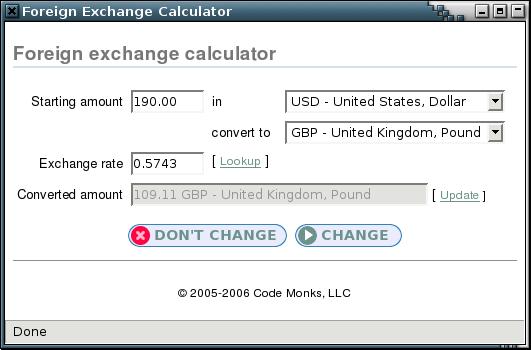 Exchange rate calculator pop-up